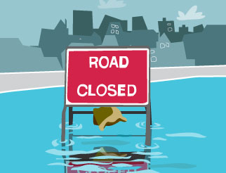 Flooding - road closed sign